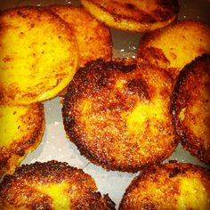 polenta cakes or fried corn meal mush.  Just they way Mom made them so long ago.