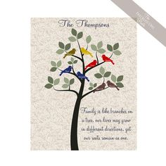 Custom Family Tree Art with Love Birds. by TheFreckledOwlPrints, $18.00