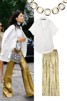 I love the gold pants by Michael Koors