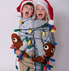 Brother and sister pose for their annual Christmas photo for the greetings card