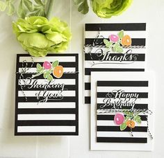 Make It Monday #224: Two-Toned Stamped Sentiments - Stripe & Floral Cards by Danielle Flanders for Papertrey Ink (September 2015)