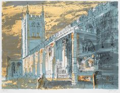 John Piper, Long Melford Church (Suffolk, E. screenprint on paper, artists proof VIII/X aside from numbered edition of 51 x 66 cm. Urban Landscape, Landscape Art, Landscape Paintings, Architecture Artists, Architecture Drawings, Building Painting, Building Art, John Piper Artist, Long Melford