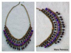 Purple handmade statement necklace