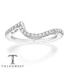 Tolkowsky Wedding Band 1/5 ct tw Diamonds 14K White Gold