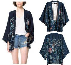 Flower Bird Print Japan Kimono Wide Sleeve Style Blouse Top Cardigan s M L YA6 | eBay