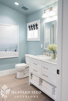 Bathroom Remodel HGTV Dream Home Tour Downstairs bathroom - colors, style of cabinet, roman shade is cute Beach House Bathroom, Beach Bathrooms, Upstairs Bathrooms, Downstairs Bathroom, Diy Bathroom Decor, Bathroom Renos, Bathroom Interior, Bathroom Shelves, Budget Bathroom
