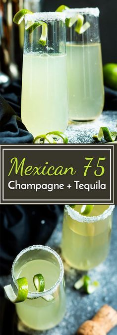 This Mexican 75 is a tequila and champagne cocktail that is a twist on the classic French It makes an epic cocktail for times of celebration! Cocktails Mexican 75 - A Lime, Tequila and Champagne Cocktail Campari Cocktail, Cocktail Drinks, Tequilla Cocktails, Cocktails With Champagne, Sparkling Wine, Cocktail Tequila, Wine Cocktails, Martinis, Easy Tequila Drinks