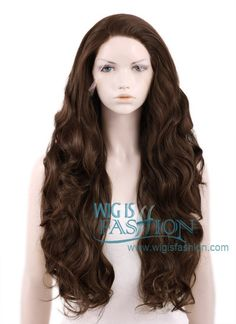 """18""""-28"""" Long Curly Brown Lace Front Synthetic Wig"""