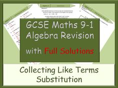 GCSE Algebra Revision 9-1 - Collecting like terms - Substitution - with Full Solutions