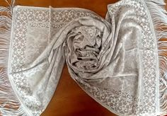 100% SPITZE+Fransen Schal Pashmina Schleier Foulard Hijab Jawel Silber gemustert