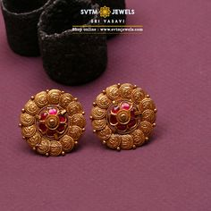 Ciandra Stud Ciandra Stud,Kurta style These yellow gold casting Studs are studded with ruby stones, which will be a perfect pick for your office wear. Related posts:Morganite Engagement Rings We Are Obsessed With. Gold Jhumka Earrings, Jewelry Design Earrings, Gold Earrings Designs, Antique Earrings, Earings Gold, Jade Earrings, Gold Bangles, Chandelier Earrings, Stud Earrings