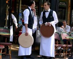 French waiters with their trays.