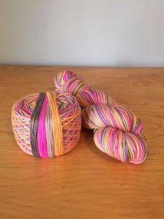 "Hand-Dyed Self-Striping Sock Yarn ""Rewind"" Merino Wool Nylon Variegated 4 Ply Fingering Weight Yarn JuliannasFibre"