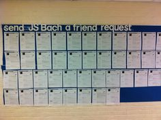 "Another pinner said: This was a sub plan.  My students made a ""Facebook"" page on JS Bach.  They read two biography pages about him and filled out a FB page.  Work was displayed in the hall.  I found the template on freeology.com. http://freeology.com/graphicorgs/faux-facebook-profile-worksheet/"