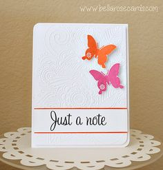 This is a heavyweight, beautifully embossed, handmade note card.  If pink and orange aren't your thing, you can choose two different colors.  Size:4.25 x 5.5  Made to order!