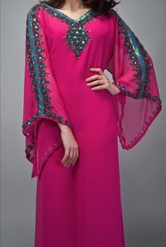 pink & turquoise caftan from nisaa boutique (detail)