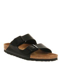 Birkenstock, Arizona Two Strap Sandals, Black Birko Flor