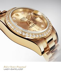 The Rolex Lady-Date just 26mm in yellow gold with a diamond-set bezel, champagne set with diamonds dial and President bracelet. #Festive #RolexOfficial