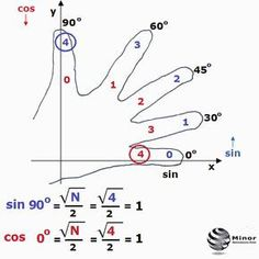 Interesting show - how calculate the value of the sine, cosine, tan gent and cotangent of the angle 0◦, 30◦, 45◦, 60◦, 90◦. The fingers are numbered seq... - Matematyka - Matematyczny Świat wokół nas. - Google+