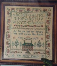 Me And My House Will Serve The Lord Cross Stitch Sampler 30 Ct Beige Linen Kit