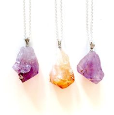 Amethyst and Citrine Healing Crystal Necklaces by BlossomAndBronze