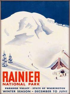Rainier-National-Park-Paradise-Valley-Washington-US-Travel-Advertisement-Poster
