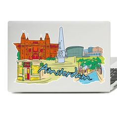 Amsterdam Illustration Laptop Skin Sticker Diy Wall Stickers, Laptop Stickers, Vinyl Decals, Laptop Skin, Amsterdam, Illustration, Illustrations