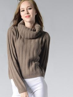 Women's High-necked Long Sleeves Slim Sweater Round Neck Pullover - OneBling