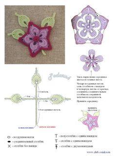 Crochet Applique - Purple Flower with Leaves