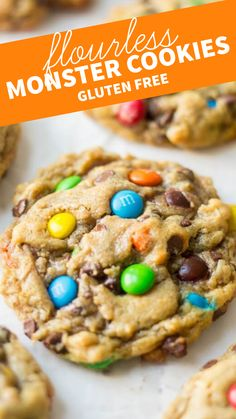 Flourless monster cookies are gooey and chewy and chocolatey! These amazing and easy to make flourless monster cookies are filled with flavorful and colorful ingredients and have a chewy texture witho Gluten Free Deserts, Gluten Free Sweets, Dairy Free Recipes, Easy Gluten Free Cookies, Gf Recipes, Pumpkin Recipes, Sweet Recipes, Cake Recipes, Cooking Recipes