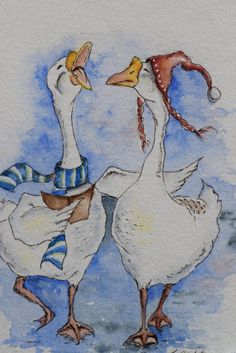 Troll The Ancient Yuletide Carol Christmas Geese Christmas Holiday Card watercolor card-print Art Watercolor, Watercolor Animals, Christmas Drawing, Christmas Art, Goose Drawing, Poster Photo, Duck Art, Rooster Art, Bird Artwork