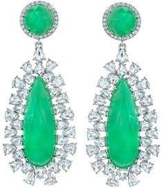 irene neuwirth bROOCHES | Chrysoprase and Diamond Drop Earrings by Irene Neuwirth