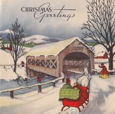 Vintage Greeting Card Christmas Old-Fashioned Winter Landscape Horse Sleigh A-45