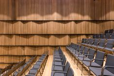Image 18 of 38 from gallery of B Campus / AIM Architecture. Photograph by Dirk Weiblen Theater Architecture, Architecture Photo, Beautiful Architecture, Interior Design Awards, Best Interior Design, Auditorium Design, School Hall, Hall Design, Concert Hall