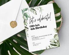 Birthday invitation template with greenery elements Birthday Invitation Templates, Greenery, My Design, Birthdays, My Etsy Shop, Place Card Holders, Kids, Children, Boys