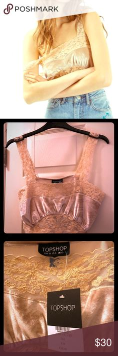 TOPSHOP velvet and lace crop top size US 6 New with tags topshop crop top/ bralette top. Gold/tan velvet and lace. Size US 6, UK 10, EUR 38. Side zipper. Super soft. Topshop Tops