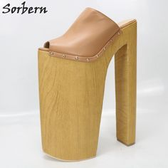 Sorbern Brown Slippers Super High Heels Open Toe Slides Women Chunky Plus  Size 11 Womens Shoes 1afce1056628