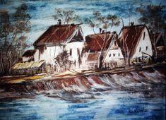 Lajtős utca. Pasztellkréta. Utca, Painting, Art, Painting Art, Paintings, Kunst, Paint, Draw, Art Education