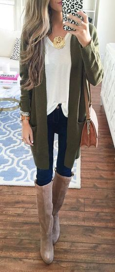 fall fashion rends cardi+ blouse + bag jeans + high boots