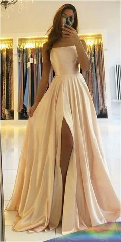 WD0018,A-line Scoop Stretch Satin High Split Long Simple Prom Dress Formal Evening Gowns on Storenvy Stunning Prom Dresses, Pretty Prom Dresses, Simple Prom Dress, Formal Prom Dresses, Prom Dreses, Corset Prom Dresses, Satin Dresses, A Line Prom Dresses, Split Prom Dresses