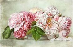 one lonely beetle.and roses & peonies. Dark Flowers, Pastel Flowers, Pink Rose Flower, Flower Art, Decoupage Vintage, Decoupage Paper, Watercolor Artists, Rose Buds, Flower Power