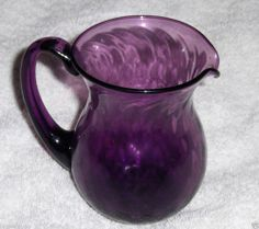 Vtg Amethyst Purple Swirl Art Glass Pitcher Hand Blown Embossed Glass Creamer #artglass
