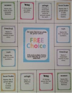 This is an example of a choice board that I have displayed in my class. Each subject is color coded so that students can easily locate what they want to do. $