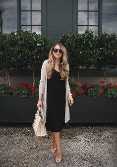 Slip Dress Outfit, Black Dress Outfits, Black Slip Dress, Style Outfits, Summer Dress Outfits, Dress With Cardigan, Classy Outfits, Cool Outfits, Winter Dresses