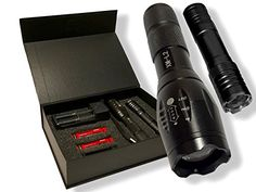 DAX Tactical LED Flashlight Kit 2 Ultra Bright Flashlights Rechargeable 1200 Lumens 5 Light Modes Zoom Focus 2 LithiumIon Batteries AAA Adapter Charger Gift Box Included *** Learn more by visiting the image link.