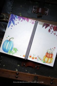 Magical, witchy Autumn spell and ritual pages. Fun additions and ideas for your grimoire. From the Coloring Book of Shadows Planner Coloring Tips, Colouring, Coloring Books, Samhain Ritual, Pumpkin Coloring Pages, Magic Sets, Bullet Art, Purple Pumpkin, Rider Waite Tarot