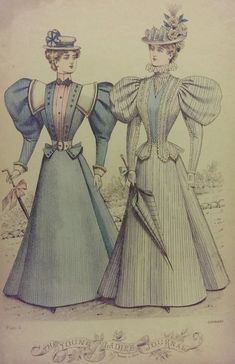 1896 August from Young Ladies Journal 1890s Fashion, Edwardian Fashion, European Fashion, Vintage Fashion, Dress Sketches, Fashion Sketches, Historical Clothing, Historical Dress, Blue Stockings