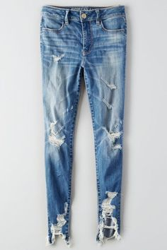 American Eagle Outfitters AE Denim X Hi-Rise Jegging - Jeans Pantalones American Eagle, American Eagle Jeans, American Eagle Outfitters Jeans, Distressed Leggings, Ripped Leggings, Blue Leggings, Jeggings Outfit, Blue Pants, Cute Jeans