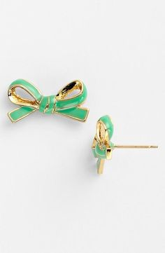 Feeling pretty with 'skinny mini' bow stud earrings | Kate Spade