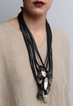 MONIES UNIQUE CRYSTAL, PEARL, & MOTHER OF PEARL MULTI STRAND NECKLACE (Santa Fe Dry Goods)